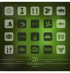 Set of Barcelona icons vector image