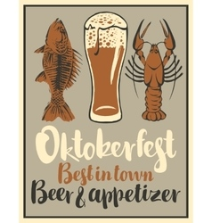 Glass of beer and snack seafood vector