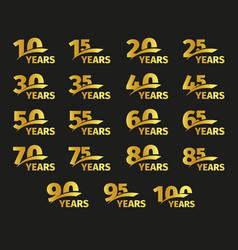 Isolated golden color numbers with word years vector