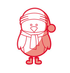 red silhouette of chicken with boots scarf and vector image