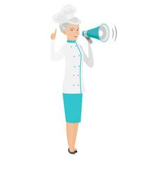 Senior caucasian chef cook making announcement vector