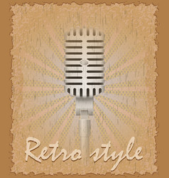 Retro style poster old microphone vector