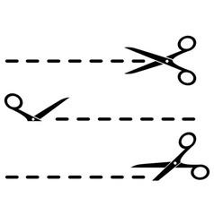 Cut lines with black scissors vector