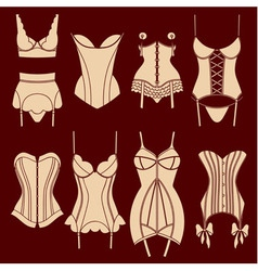 Set of vintage lingerie elements vector