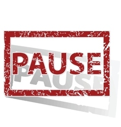 Pause outlined stamp vector