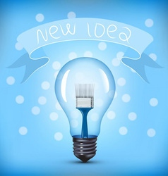 Light bulb with paint brush vector
