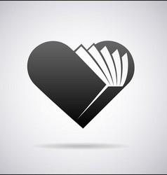 Book shape heart icon vector image