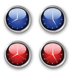 Glossy clocks vector