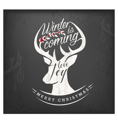 Christmas Greeting Design Elements with Reindeer vector image