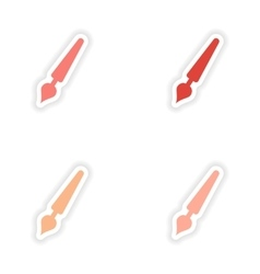 Assembly realistic sticker design on paper pen vector