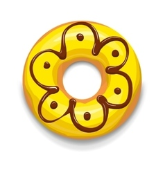Yellow glazed donut icon cartoon style vector