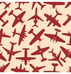 Flying red airplanes seamless pattern vector