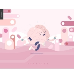 Running brain on pink landscape vector
