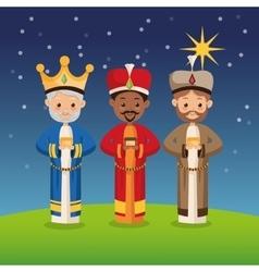 Three wise men icon merry christmas design vector
