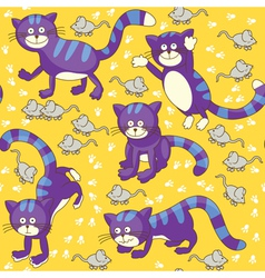 Funny cats and mouses seamless vector image