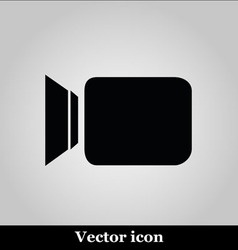Video camera flat icon on grey background vector