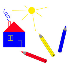 a simple house and three colored pencils vector image