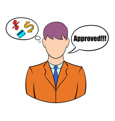 Approval for a loan icon cartoon vector
