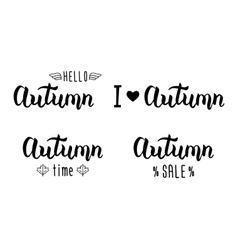 Autumn handlettering set autumn logos and emblems vector