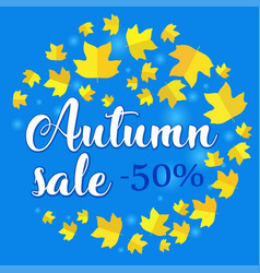 Autumn sale banner with fall leaves on blue vector