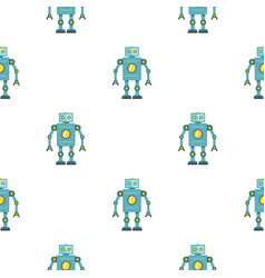 Blue retro robot pattern seamless vector