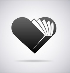 Book shape heart icon vector image vector image