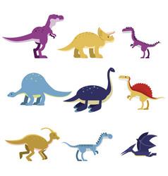 Cartoon dinosaur animals set cute prehistoric and vector