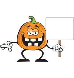 Cartoon pumpkin holding a sign vector