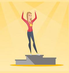 caucasian sportswoman celebrating on winner podium vector image vector image