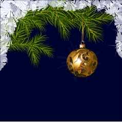 Christmas ball with fir branches vector