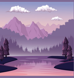 colorful background with dawn landscape of vector image vector image