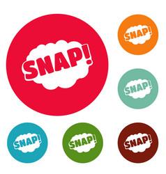 Comic boom snap icons circle set vector