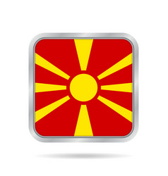 Flag of macedonia metallic gray square button vector