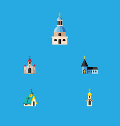 Flat icon christian set of traditional structure vector