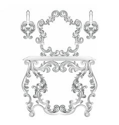 Glamorous fabulous baroque rococo console table vector