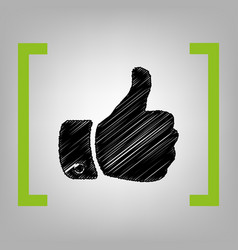 hand sign black scribble vector image vector image