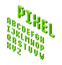Isometric 3d pixel font three-dimensional vector