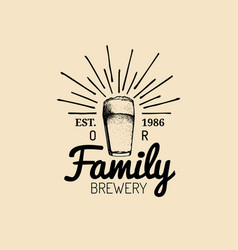 kraft beer glass logo lager cup retro sign hand vector image vector image
