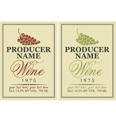 labels for wine with grapes vector image