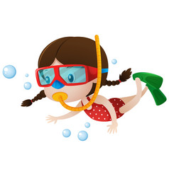Little girl diving under the sea vector