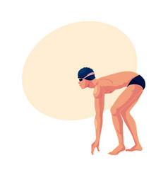 male swimmer in starting position ready do dive vector image