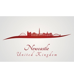 Newcastle skyline in red vector