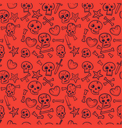pattern with skulls hearts seamless background vector image vector image