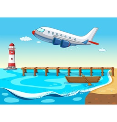 Plane and beach vector