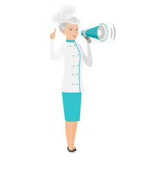Senior caucasian chef cook making announcement vector