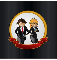 Service callcenter couple cartoon label icon vector image