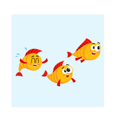 shoal of three funny golden yellow fish vector image