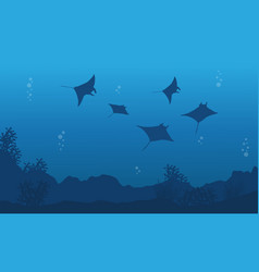 Silhouette of stingray on blue sea landscape vector