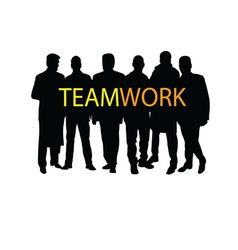 teamwork silhouette vector image