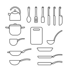 thin line set of cookware vector image